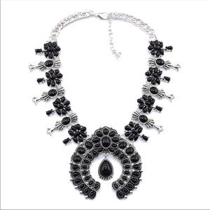 SQUASH BLOSSOM necklace in faux onyx & silver NWT